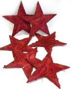 Holzscheiben-Stern 20cm rot zum Hängen 6er-Set