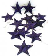 Holzscheiben-Stern 10cm lila zum Hängen 12er-Set