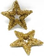 Glamour-Stern 14cm gold zum Hängen 2er-Set