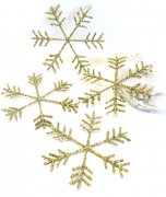 Glitter-Schneeflocke 15cm gold 10er-Set